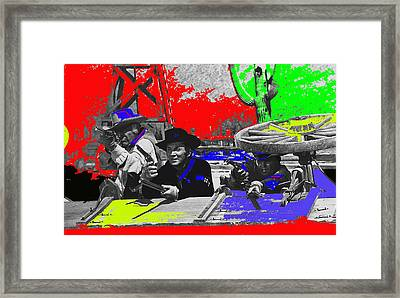 Leif Erickson Cameron Mitchell  Mark Slade Number 2 The High Chaparral Set Old Tucson Az 1969-2008 Framed Print by David Lee Guss