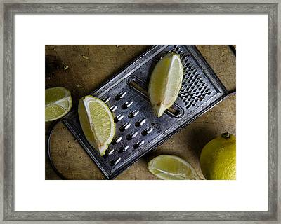 Lemon And Grater Framed Print by Nailia Schwarz