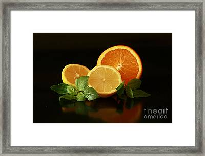 Lemon And Orange Delight Framed Print by Inspired Nature Photography Fine Art Photography