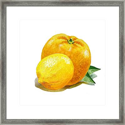 Lemon And Orange Happy Couple Framed Print by Irina Sztukowski