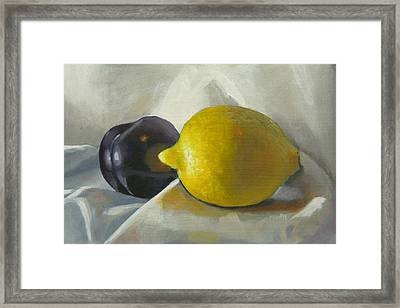 Lemon And Plum Framed Print by Peter Orrock