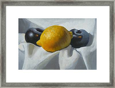 Lemon And Plums Framed Print by Peter Orrock