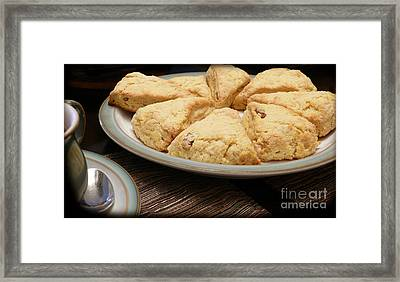 Lemon Apricot Scones For Tea Framed Print by Maria Janicki