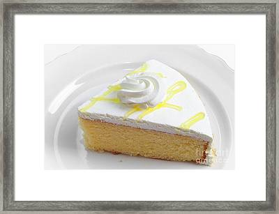Lemon Chiffon Cake Slice Framed Print by Andee Design