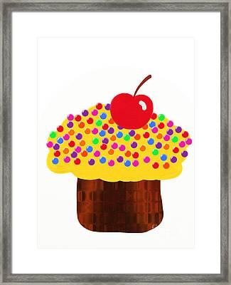 Lemon Cupcake Framed Print by Andee Design