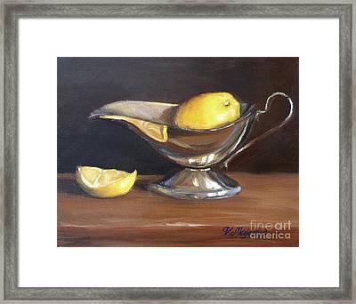 Lemon In Saucer Framed Print