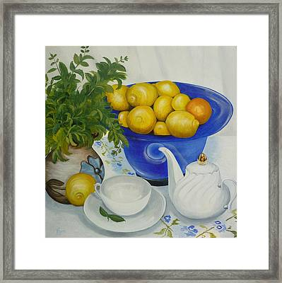 Framed Print featuring the painting Lemon Tea by Helen Syron