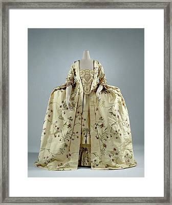 Lemon Yellow Gown Rips Silk Embroidered With Silk Vines Framed Print