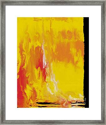 Framed Print featuring the painting Lemon Yellow Sun by Roz Abellera Art