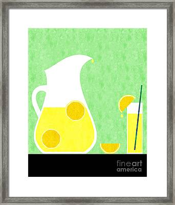 Lemonade And Glass Green Framed Print by Andee Design