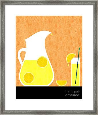 Lemonade And Glass Orange Framed Print by Andee Design