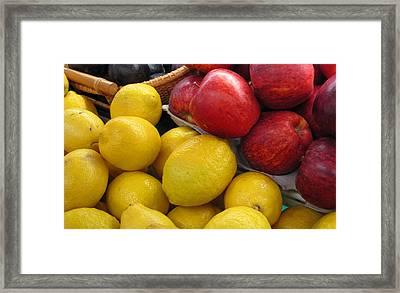 Lemons And Apples Framed Print by Barbara McDevitt