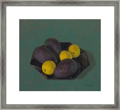 Lemons And Avocados Framed Print by Ben Rikken