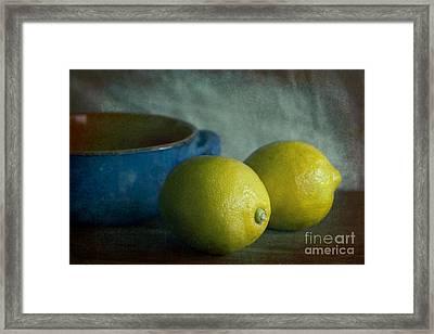 Lemons And Blue Terracotta Pot Framed Print by Elena Nosyreva