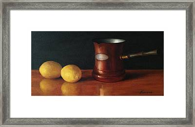 Lemons And Copper Framed Print