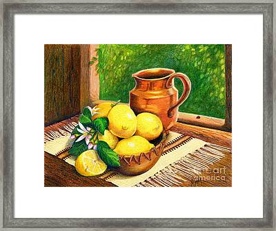 Lemons And Copper Still Life Framed Print by Marilyn Smith