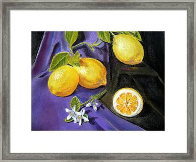 Lemons And Flowers Framed Print