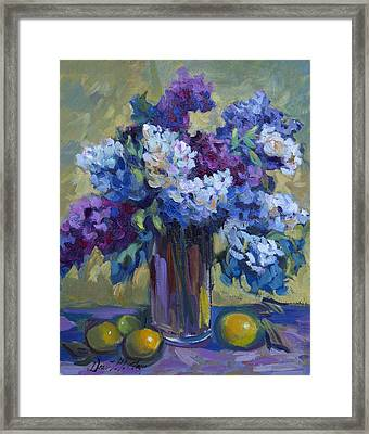 Lemons And Lilacs Framed Print