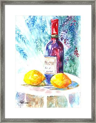 Lemons And Wine And A Little Sunshine Framed Print