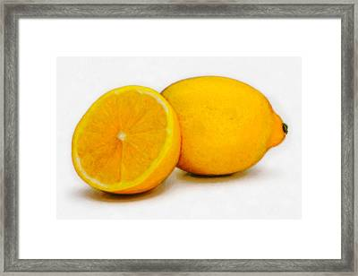 Framed Print featuring the digital art Lemons by David Blank