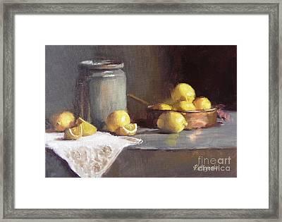 Lemons In Copper Pan  Framed Print by Viktoria K Majestic