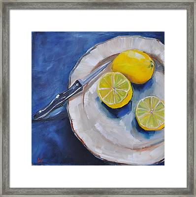 Framed Print featuring the painting Lemons On A Plate by Lindsay Frost
