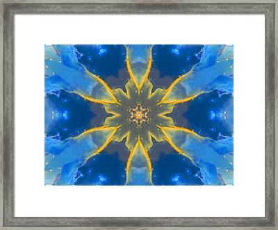 Lemurian Aquatine Calcite Mandala Framed Print