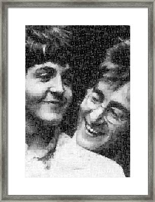 Lennon And Mccartney Mosaic Image 1 Framed Print by Steve Kearns