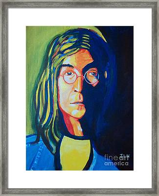 Framed Print featuring the painting Lennon by Justin Lee Williams