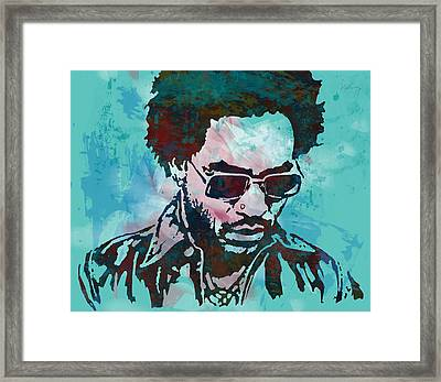 Lenny Kravitz - Stylised Etching Pop Art Poster Framed Print by Kim Wang
