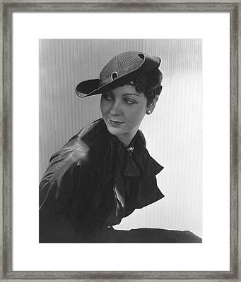 Lenore Pettit Wearing A Straw Hat Framed Print