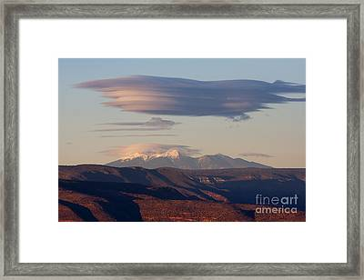 Framed Print featuring the photograph Lenticular Cloud Hovers Over The San Francisco Peaks Of Flagstaff Arizona by Ron Chilston