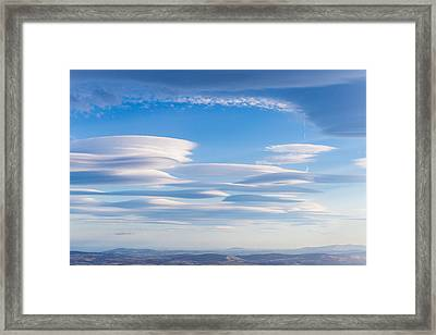 Lenticular Clouds Forming In The Troposphere Framed Print by Semmick Photo