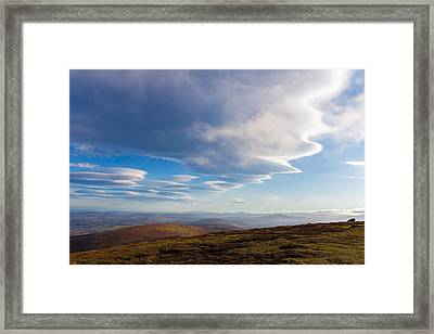 Lenticular Clouds Forming In Wicklow Mountains Framed Print by Semmick Photo