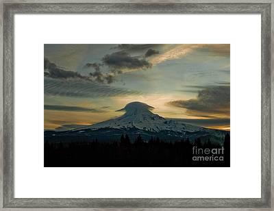 Lenticular Sunset On Mount Hood Framed Print by Cari Gesch