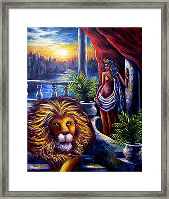 Leo And The Virgin Framed Print by Sebastian Pierre