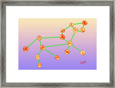 Leo Constellation Composed By Tomato Slices Food Art Framed Print by Paul Ge