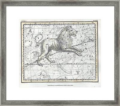 Leo Constellation, Zodiac, 1822 Framed Print by U.S. Naval Observatory Library