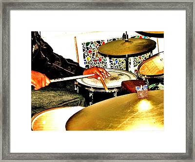 Leo Drumming Framed Print by Cleaster Cotton