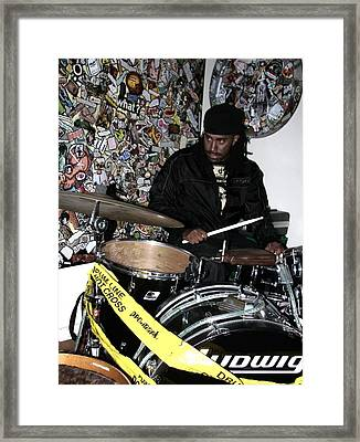 Leo Fierce On Drums Framed Print by Cleaster Cotton