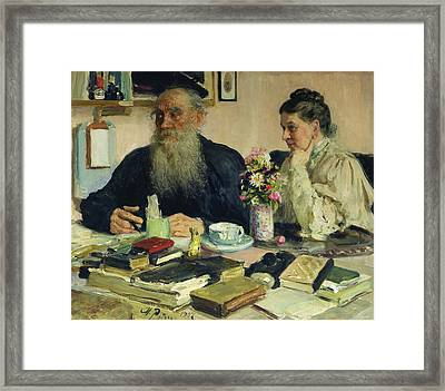 Leo Tolstoy With His Wife In Yasnaya Polyana Framed Print by Ilya Efimovich Repin