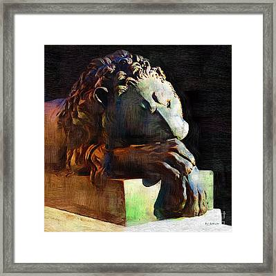 Leo Weeps Framed Print by RC DeWinter