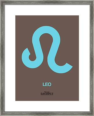 Leo Zodiac Sign Blue Framed Print