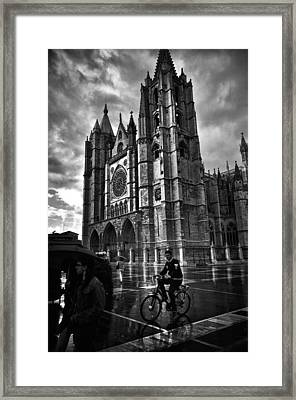 Leon Cathedral In The Rain Framed Print by Tom Bell