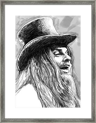Leon Russell Art Drawing Sketch Portrait Framed Print by Kim Wang