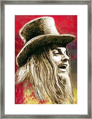 Leon Russell - Stylised Drawing Art Poster Framed Print by Kim Wang