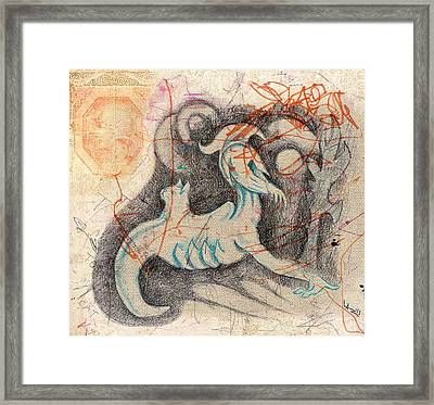 Leonard And The Cat On His Back Framed Print by Lazaros-Violet