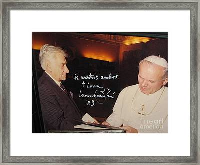 Leonard Bernstein And Pope John Paul II Framed Print by Jose Galindo