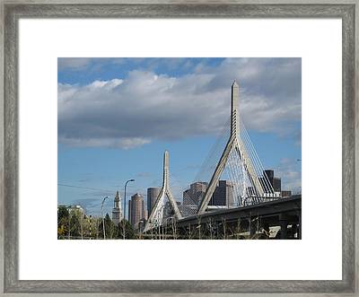 Leonard P Zakim Bridge Framed Print by Barbara McDevitt