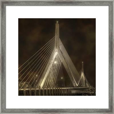 Leonard P Zakim Bridge - Sepia Framed Print by Joann Vitali